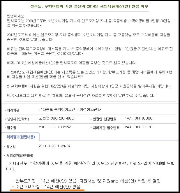 13.12.02_ 전북도 2014년 저소득층 자녀 수학여행비 지원 예산 없다.jpg